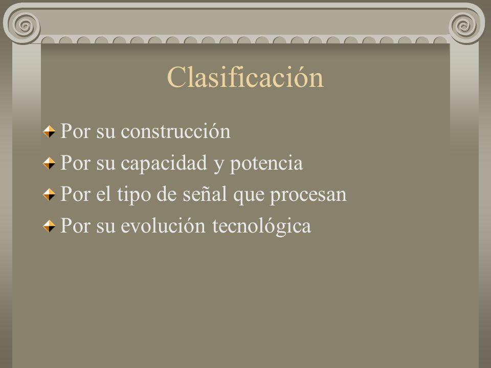Clasificación Por su construcción Por su capacidad y potencia Por el tipo de señal que procesan Por su evolución tecnológica