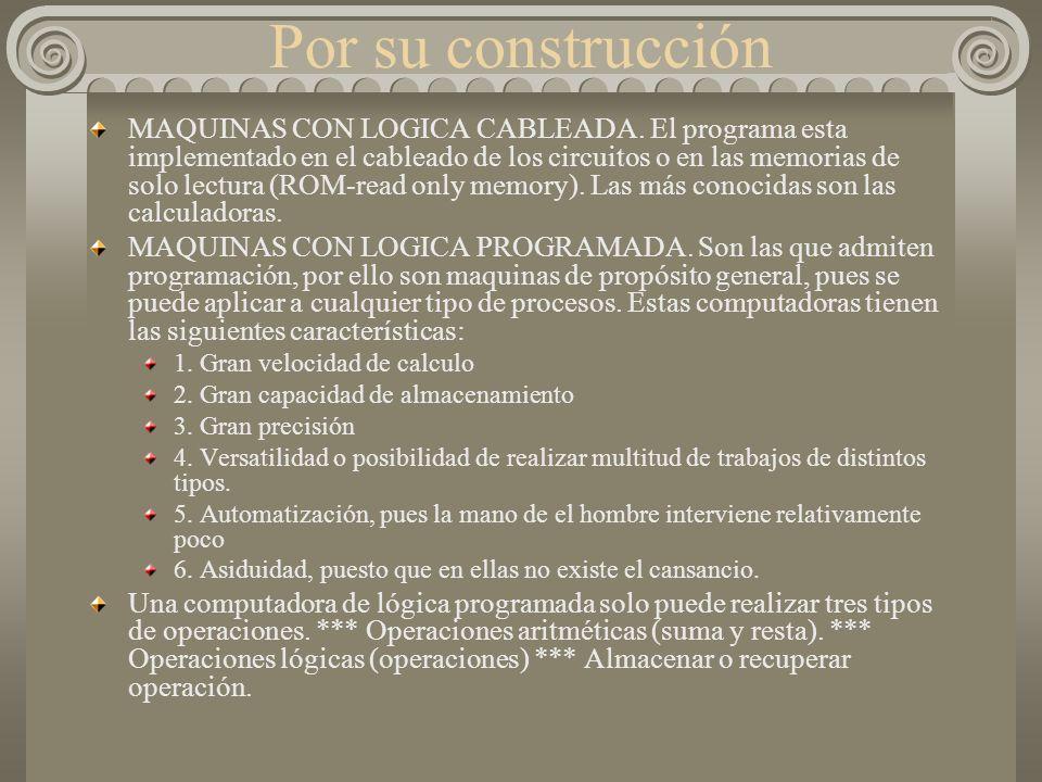 Por su construcción MAQUINAS CON LOGICA CABLEADA.