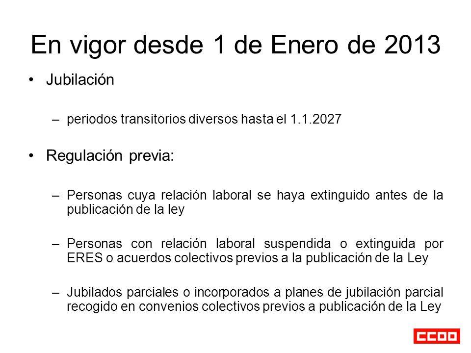 En vigor desde 1 de Enero de 2013 Jubilación –periodos transitorios diversos hasta el 1.1.2027 Regulación previa: –Personas cuya relación laboral se h