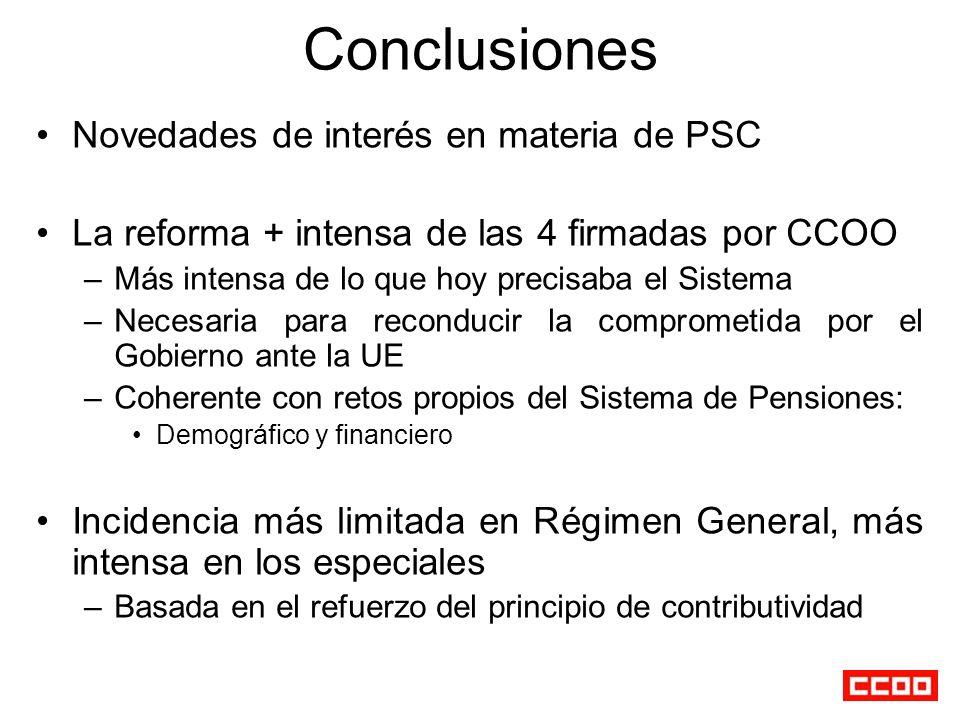 Conclusiones Novedades de interés en materia de PSC La reforma + intensa de las 4 firmadas por CCOO –Más intensa de lo que hoy precisaba el Sistema –N