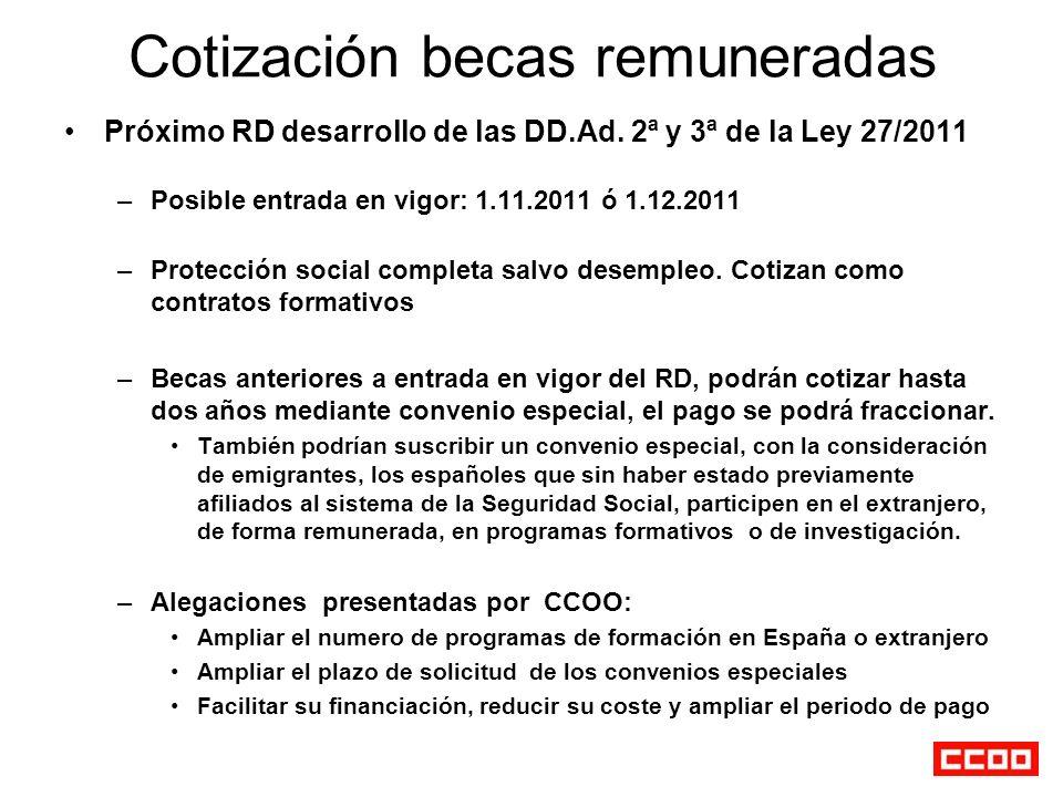Cotización becas remuneradas Próximo RD desarrollo de las DD.Ad. 2ª y 3ª de la Ley 27/2011 –Posible entrada en vigor: 1.11.2011 ó 1.12.2011 –Protecció