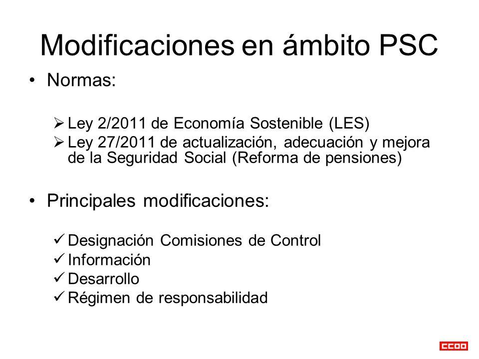 Modificaciones en ámbito PSC Normas: Ley 2/2011 de Economía Sostenible (LES) Ley 27/2011 de actualización, adecuación y mejora de la Seguridad Social (Reforma de pensiones) Principales modificaciones: Designación Comisiones de Control Información Desarrollo Régimen de responsabilidad