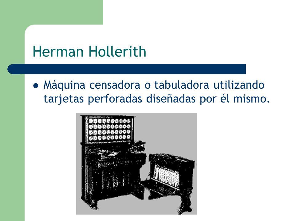 Herman Hollerith Máquina censadora o tabuladora utilizando tarjetas perforadas diseñadas por él mismo.