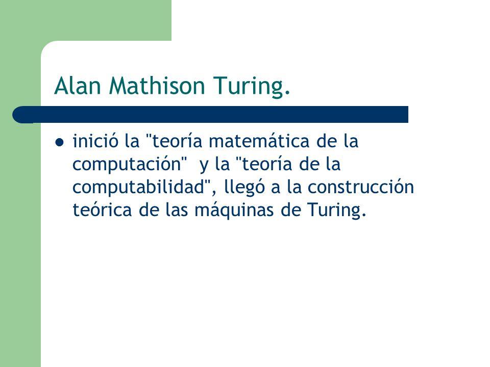 Alan Mathison Turing. inició la