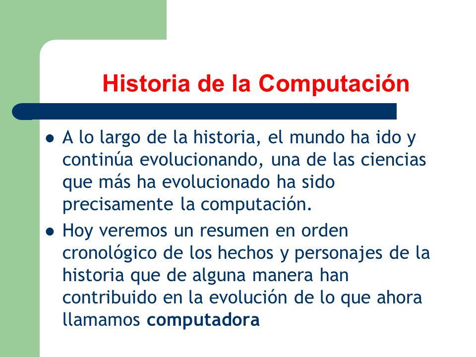 Historia de la Computación A lo largo de la historia, el mundo ha ido y continúa evolucionando, una de las ciencias que más ha evolucionado ha sido pr