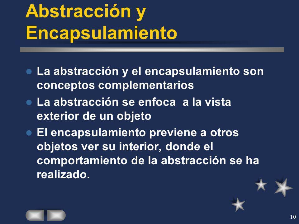 10 Abstracción y Encapsulamiento La abstracción y el encapsulamiento son conceptos complementarios La abstracción se enfoca a la vista exterior de un