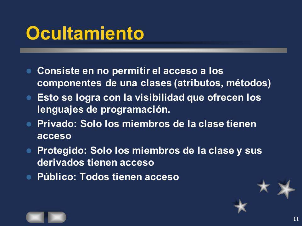 11 Ocultamiento Consiste en no permitir el acceso a los componentes de una clases (atributos, métodos) Esto se logra con la visibilidad que ofrecen lo