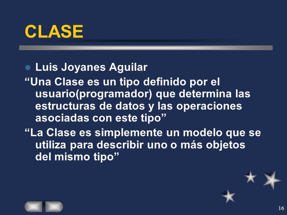 16 CLASE Luis Joyanes Aguilar Una Clase es un tipo definido por el usuario(programador) que determina las estructuras de datos y las operaciones asoci