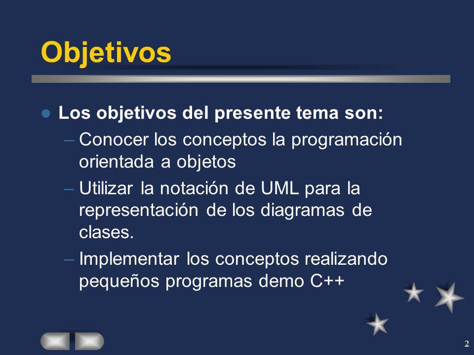 2 Objetivos Los objetivos del presente tema son: –Conocer los conceptos la programación orientada a objetos –Utilizar la notación de UML para la repre