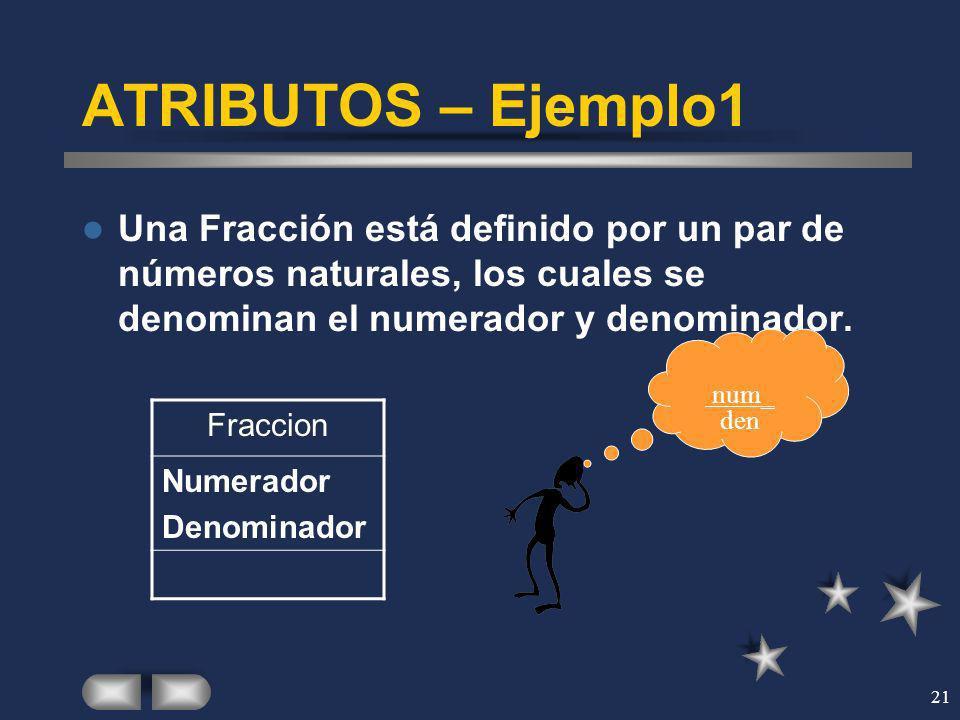 21 ATRIBUTOS – Ejemplo1 Una Fracción está definido por un par de números naturales, los cuales se denominan el numerador y denominador. Fraccion Numer