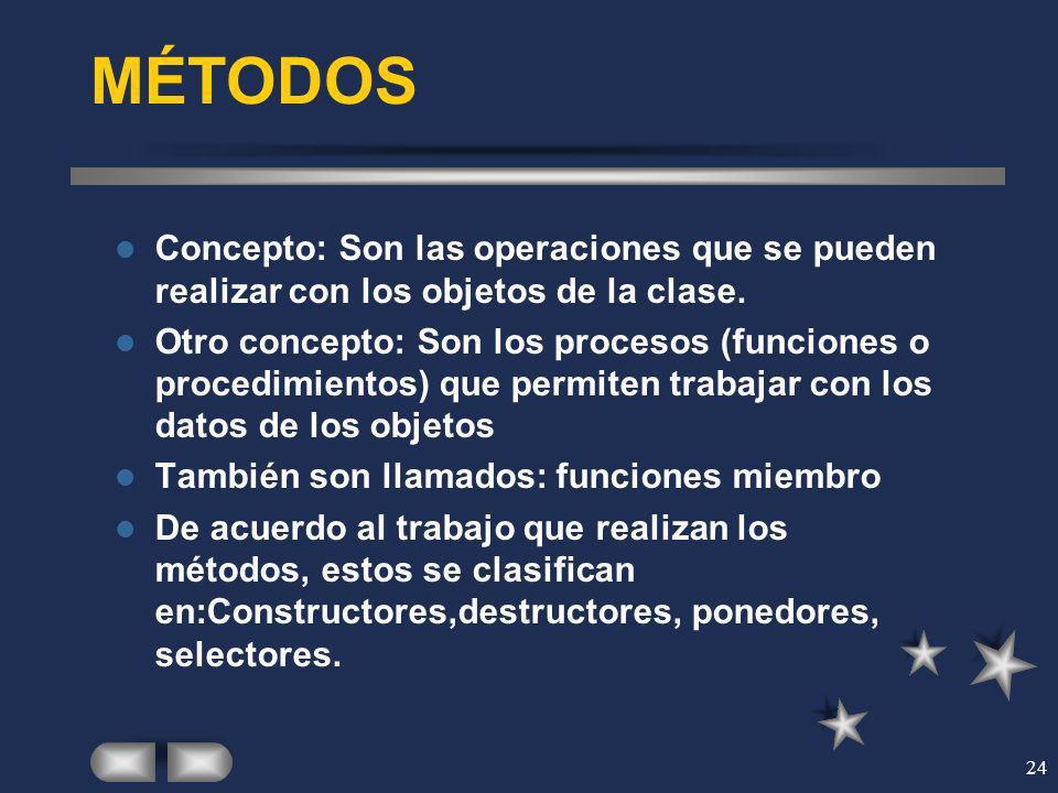 24 MÉTODOS Concepto: Son las operaciones que se pueden realizar con los objetos de la clase. Otro concepto: Son los procesos (funciones o procedimient