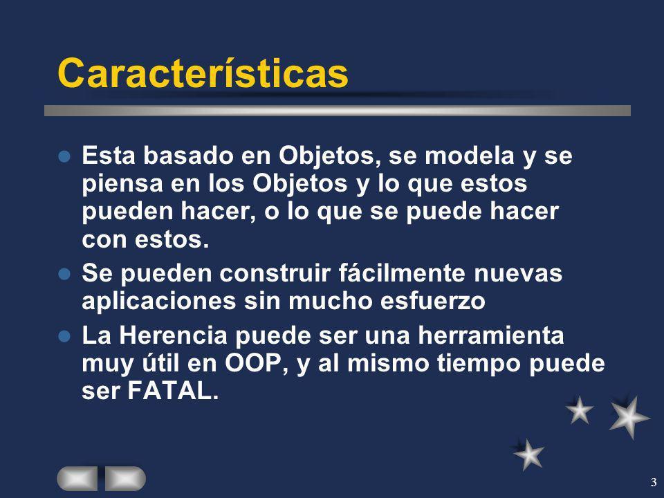 3 Características Esta basado en Objetos, se modela y se piensa en los Objetos y lo que estos pueden hacer, o lo que se puede hacer con estos. Se pued