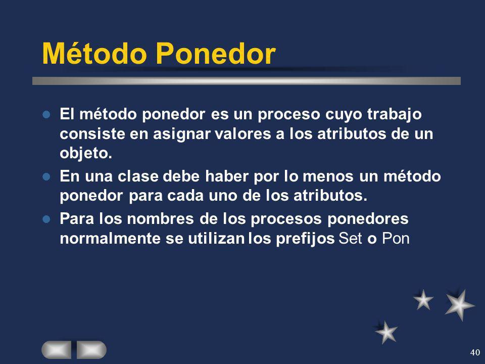 40 Método Ponedor El método ponedor es un proceso cuyo trabajo consiste en asignar valores a los atributos de un objeto. En una clase debe haber por l