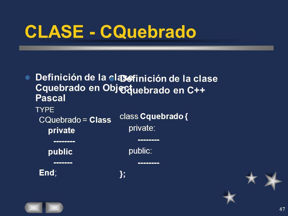 47 CLASE - CQuebrado Definición de la clase Cquebrado en Object Pascal TYPE CQuebrado = Class private -------- public ------- End; Definición de la cl