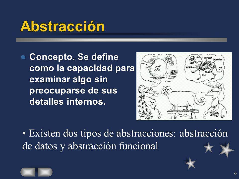 6 Abstracción Concepto. Se define como la capacidad para examinar algo sin preocuparse de sus detalles internos. Existen dos tipos de abstracciones: a