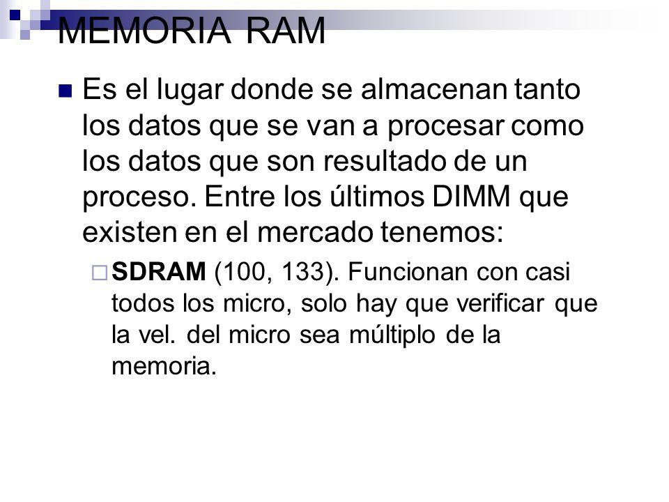 MEMORIA RAM Es el lugar donde se almacenan tanto los datos que se van a procesar como los datos que son resultado de un proceso. Entre los últimos DIM