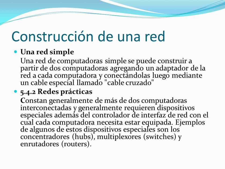 Construcción de una red Una red simple Una red de computadoras simple se puede construir a partir de dos computadoras agregando un adaptador de la red