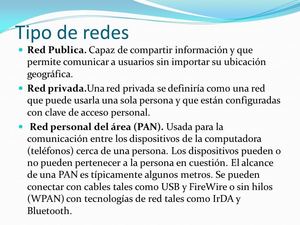 Tipo de redes Red Publica. Capaz de compartir información y que permite comunicar a usuarios sin importar su ubicación geográfica. Red privada.Una red