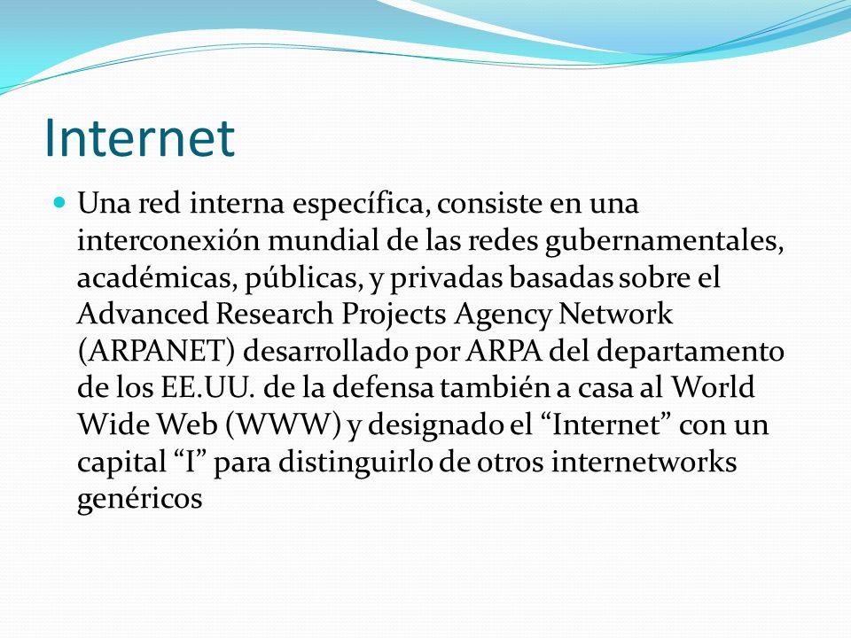 Internet Una red interna específica, consiste en una interconexión mundial de las redes gubernamentales, académicas, públicas, y privadas basadas sobre el Advanced Research Projects Agency Network (ARPANET) desarrollado por ARPA del departamento de los EE.UU.