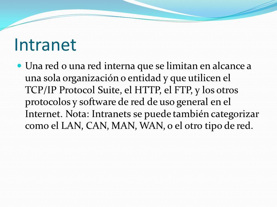 Intranet Una red o una red interna que se limitan en alcance a una sola organización o entidad y que utilicen el TCP/IP Protocol Suite, el HTTP, el FTP, y los otros protocolos y software de red de uso general en el Internet.