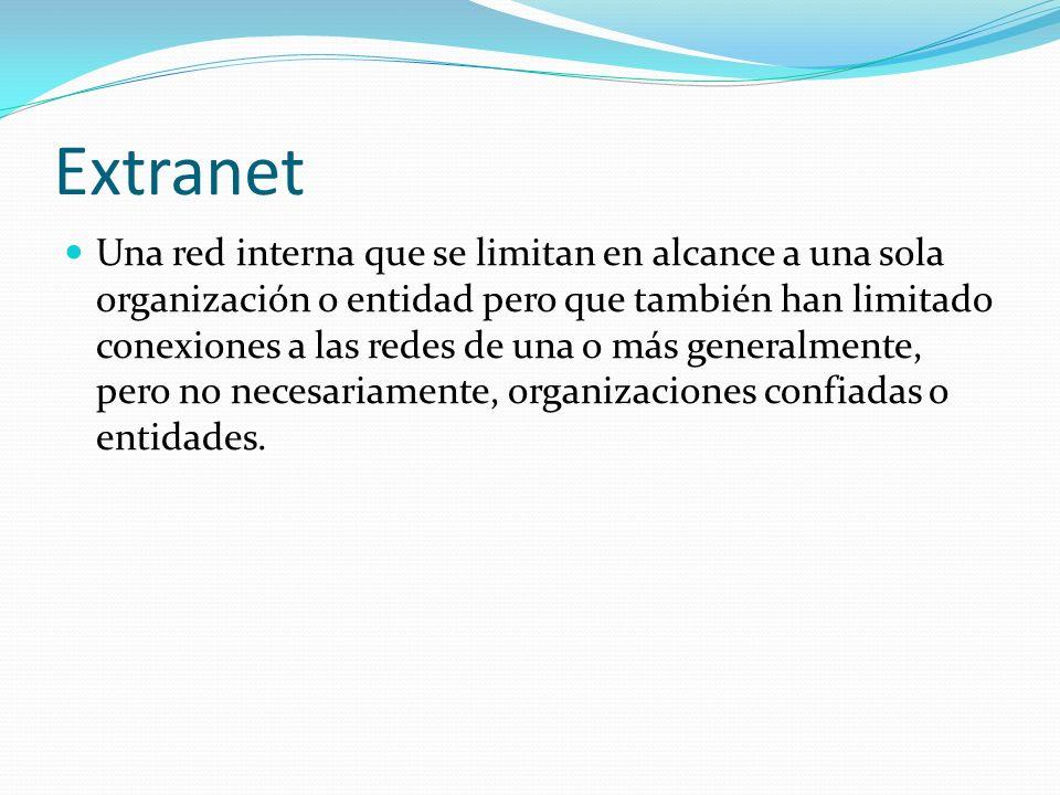 Extranet Una red interna que se limitan en alcance a una sola organización o entidad pero que también han limitado conexiones a las redes de una o más generalmente, pero no necesariamente, organizaciones confiadas o entidades.