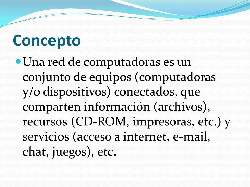Concepto Una red de computadoras es un conjunto de equipos (computadoras y/o dispositivos) conectados, que comparten información (archivos), recursos (CD-ROM, impresoras, etc.) y servicios (acceso a internet, e-mail, chat, juegos), etc.