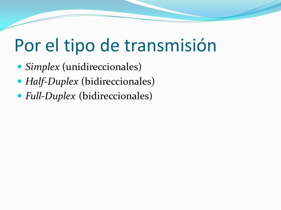 Por el tipo de transmisión Simplex (unidireccionales) Half-Duplex (bidireccionales) Full-Duplex (bidireccionales)