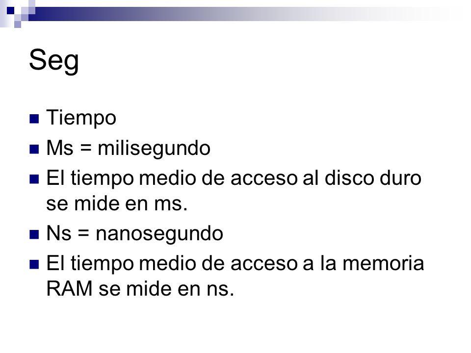 Seg Tiempo Ms = milisegundo El tiempo medio de acceso al disco duro se mide en ms.