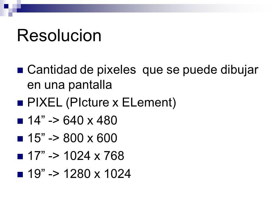 Resolucion Cantidad de pixeles que se puede dibujar en una pantalla PIXEL (PIcture x ELement) 14 -> 640 x 480 15 -> 800 x 600 17 -> 1024 x 768 19 -> 1280 x 1024