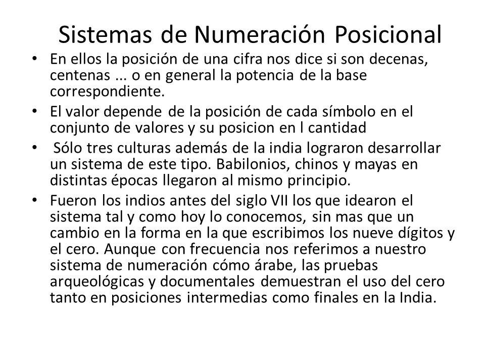 Sistemas de Numeración Posicional En ellos la posición de una cifra nos dice si son decenas, centenas... o en general la potencia de la base correspon