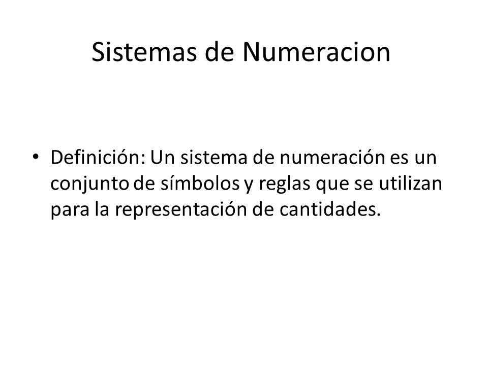 Sistemas de Numeracion Definición: Un sistema de numeración es un conjunto de símbolos y reglas que se utilizan para la representación de cantidades.