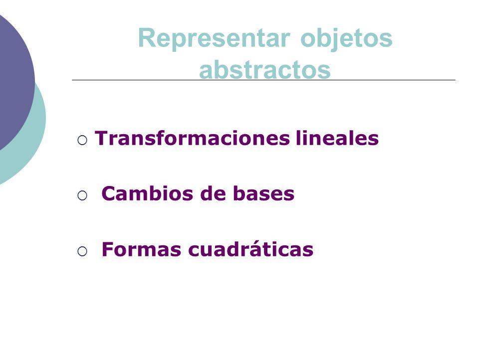 Representar objetos abstractos Transformaciones lineales Cambios de bases Formas cuadráticas