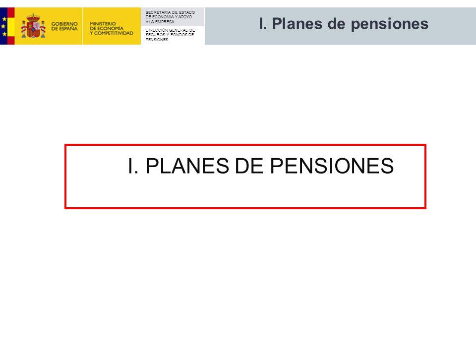 SECRETARIA DE ESTADO DE ECONOMIA Y APOYO A LA EMPRESA DIRECCIÓN GENERAL DE SEGUROS Y FONDOS DE PENSIONES I. Planes de pensiones I. PLANES DE PENSIONES