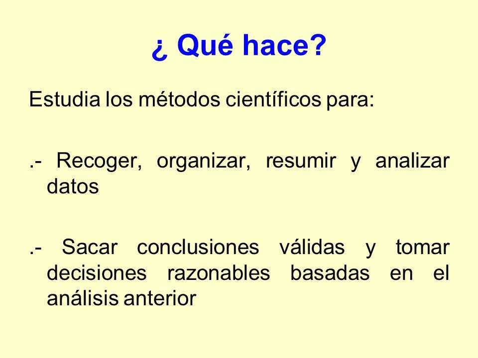 ¿ Qué hace? Estudia los métodos científicos para:.- Recoger, organizar, resumir y analizar datos.- Sacar conclusiones válidas y tomar decisiones razon