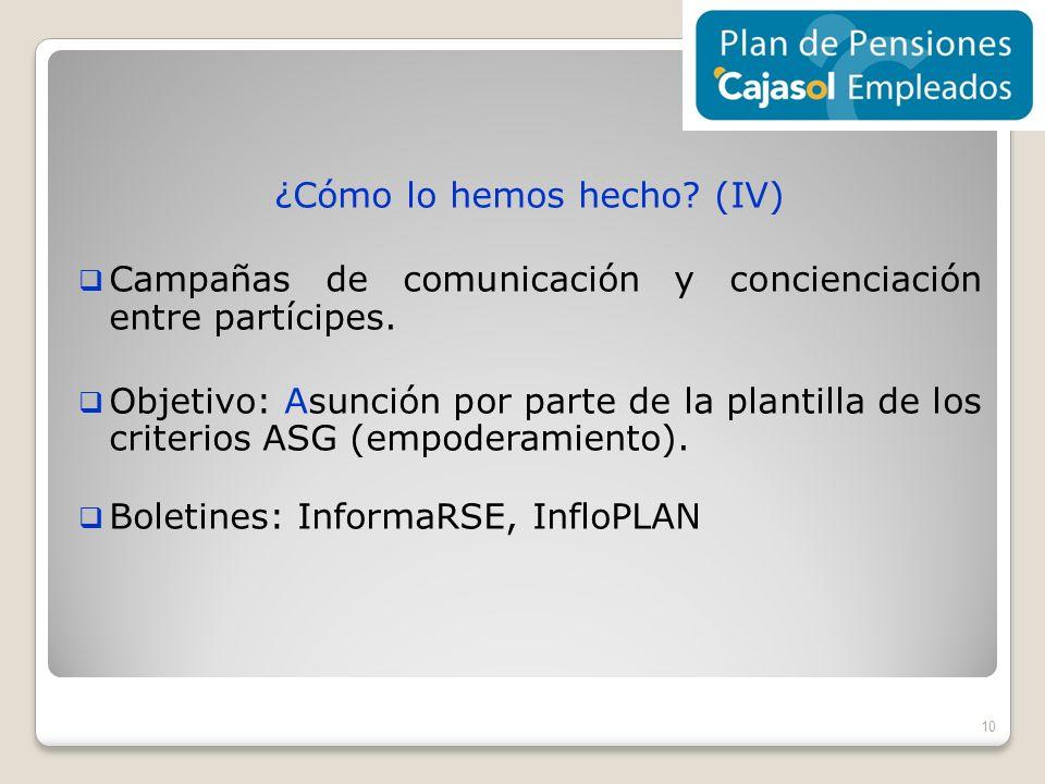 ¿Cómo lo hemos hecho? (IV) Campañas de comunicación y concienciación entre partícipes. Objetivo: Asunción por parte de la plantilla de los criterios A