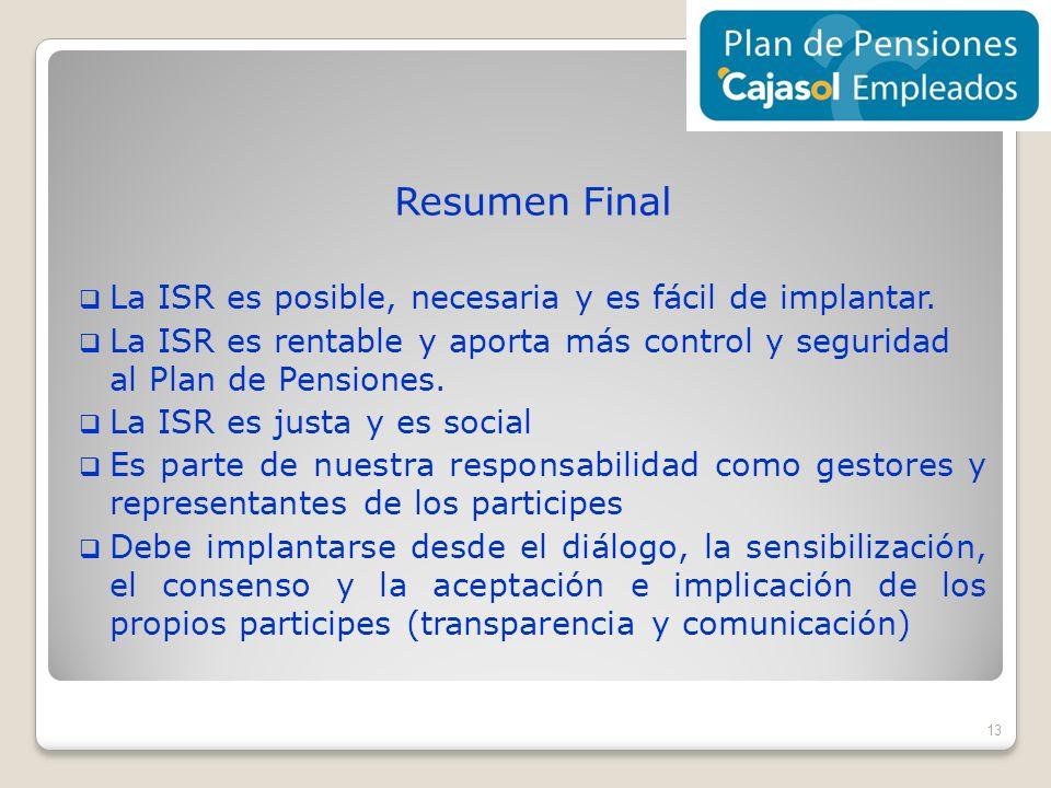Resumen Final La ISR es posible, necesaria y es fácil de implantar. La ISR es rentable y aporta más control y seguridad al Plan de Pensiones. La ISR e