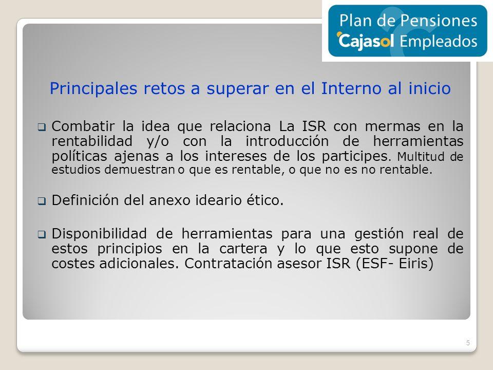 Principales retos a superar en el Interno al inicio Combatir la idea que relaciona La ISR con mermas en la rentabilidad y/o con la introducción de her