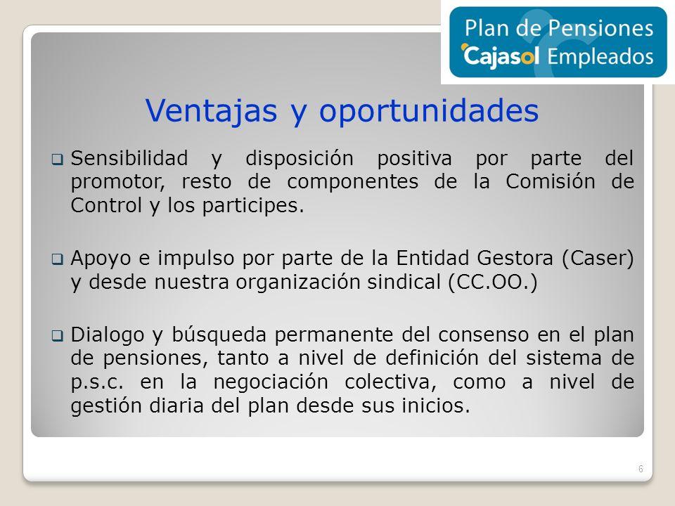 Ventajas y oportunidades Sensibilidad y disposición positiva por parte del promotor, resto de componentes de la Comisión de Control y los participes.