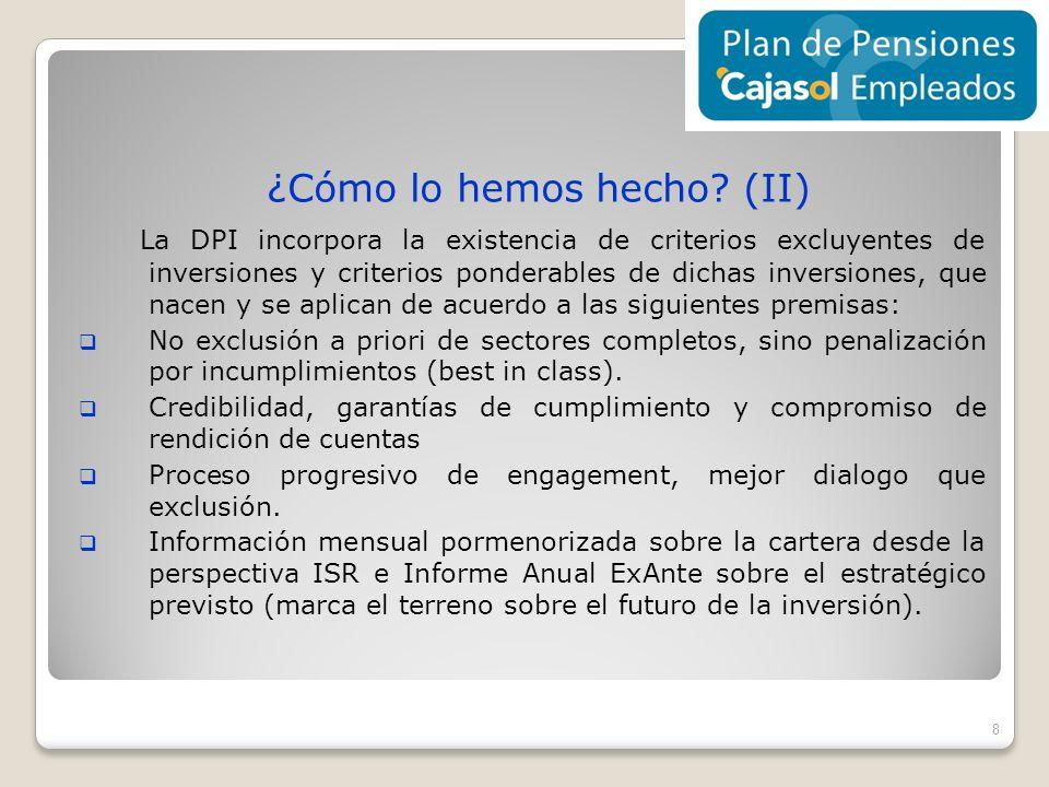 ¿Cómo lo hemos hecho? (II) La DPI incorpora la existencia de criterios excluyentes de inversiones y criterios ponderables de dichas inversiones, que n