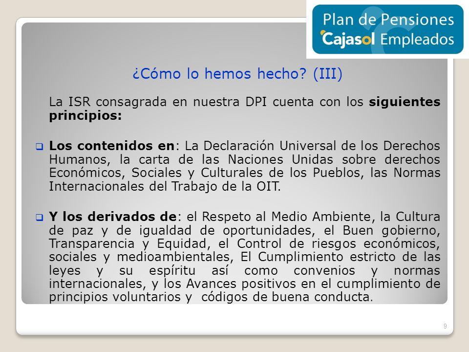 ¿Cómo lo hemos hecho? (III) La ISR consagrada en nuestra DPI cuenta con los siguientes principios: Los contenidos en: La Declaración Universal de los