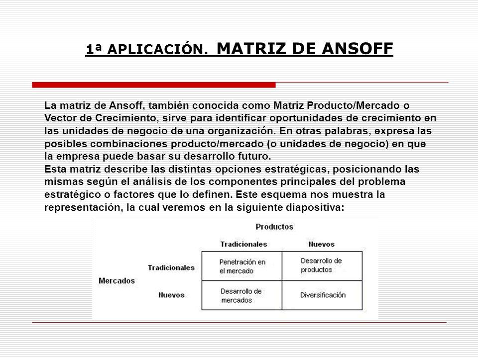 1ª APLICACIÓN. MATRIZ DE ANSOFF La matriz de Ansoff, también conocida como Matriz Producto/Mercado o Vector de Crecimiento, sirve para identificar opo