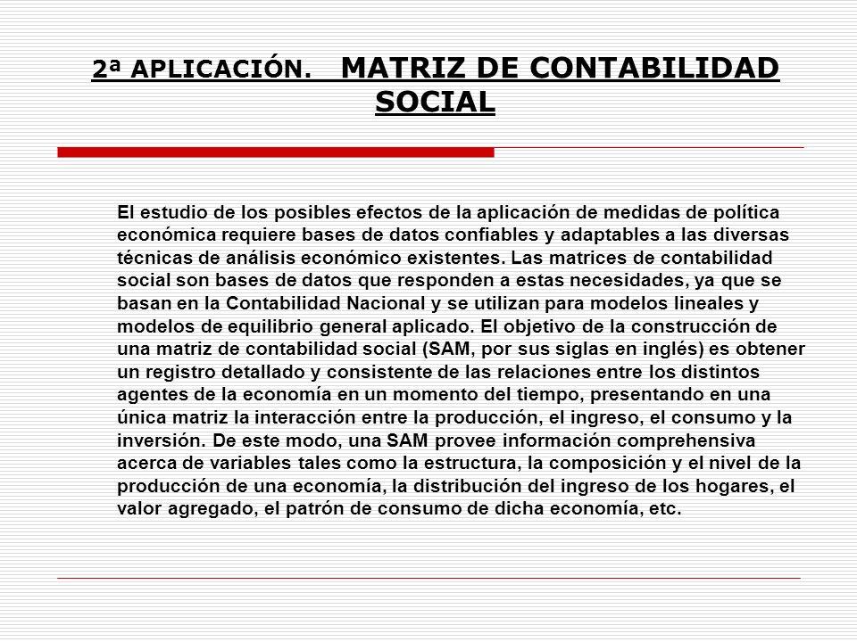 2ª APLICACIÓN. MATRIZ DE CONTABILIDAD SOCIAL El estudio de los posibles efectos de la aplicación de medidas de política económica requiere bases de da
