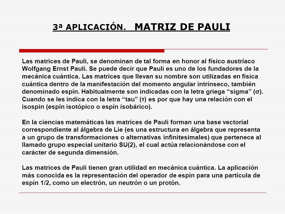 Las matrices de Pauli, se denominan de tal forma en honor al físico austríaco Wolfgang Ernst Pauli. Se puede decir que Pauli es uno de los fundadores