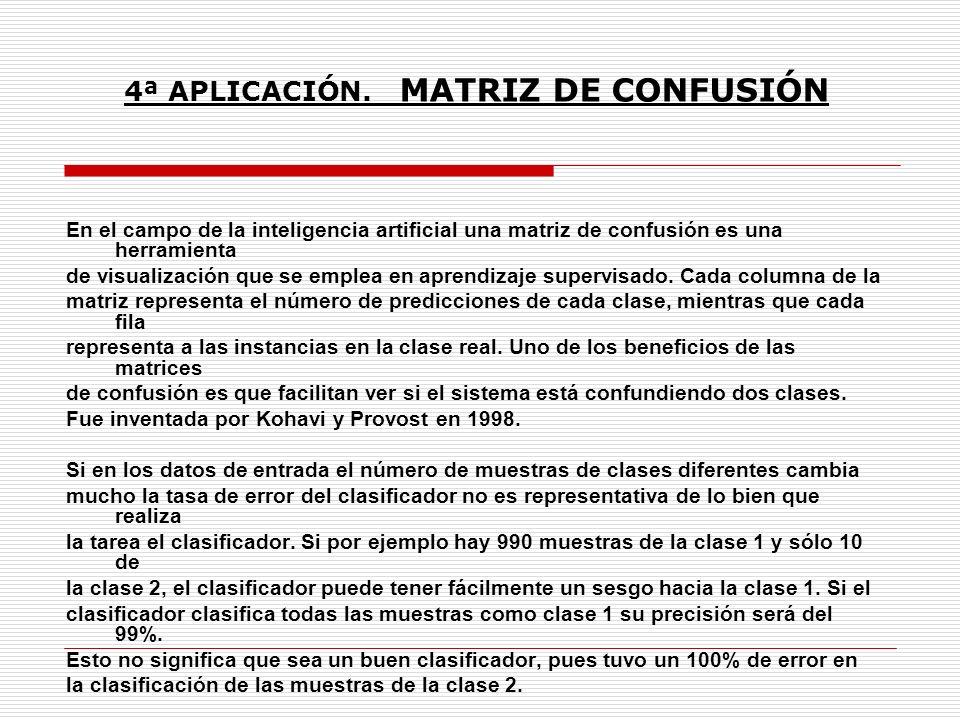 En el campo de la inteligencia artificial una matriz de confusión es una herramienta de visualización que se emplea en aprendizaje supervisado. Cada c