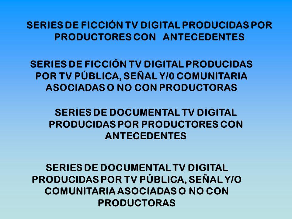 SERIES DE FICCIÓN TV DIGITAL PRODUCIDAS POR PRODUCTORES CON ANTECEDENTES SERIES DE FICCIÓN TV DIGITAL PRODUCIDAS POR TV PÚBLICA, SEÑAL Y/0 COMUNITARIA ASOCIADAS O NO CON PRODUCTORAS SERIES DE DOCUMENTAL TV DIGITAL PRODUCIDAS POR PRODUCTORES CON ANTECEDENTES SERIES DE DOCUMENTAL TV DIGITAL PRODUCIDAS POR TV PÚBLICA, SEÑAL Y/O COMUNITARIA ASOCIADAS O NO CON PRODUCTORAS