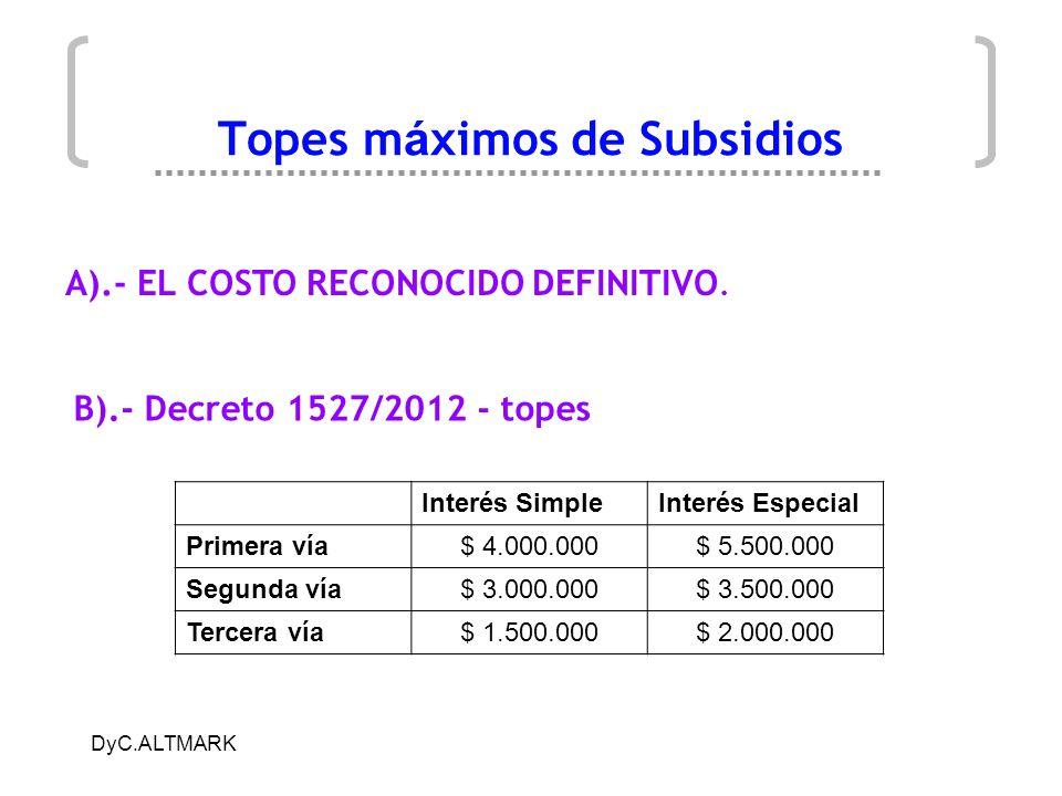 DyC.ALTMARK Topes m á ximos de Subsidios B).- Decreto 1527/2012 - topes A).- EL COSTO RECONOCIDO DEFINITIVO. Interés SimpleInterés Especial Primera ví