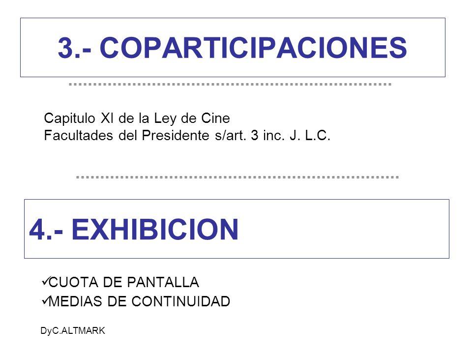 DyC.ALTMARK 3.- COPARTICIPACIONES CUOTA DE PANTALLA MEDIAS DE CONTINUIDAD 4.- EXHIBICION Capitulo XI de la Ley de Cine Facultades del Presidente s/art
