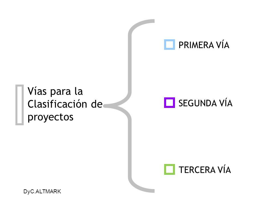 DyC.ALTMARK Vías para la Clasificación de proyectos PRIMERA VÍA SEGUNDA VÍA TERCERA VÍA