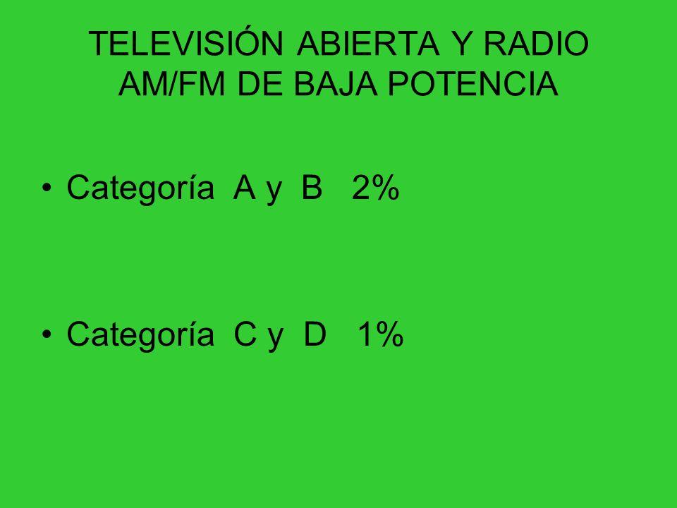 TELEVISIÓN ABIERTA Y RADIO AM/FM DE BAJA POTENCIA Categoría A y B 2% Categoría C y D 1%