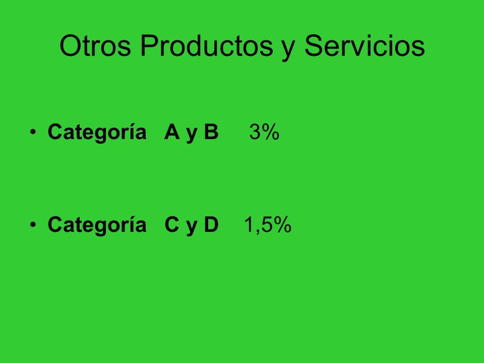 Otros Productos y Servicios Categoría A y B 3% Categoría C y D 1,5%